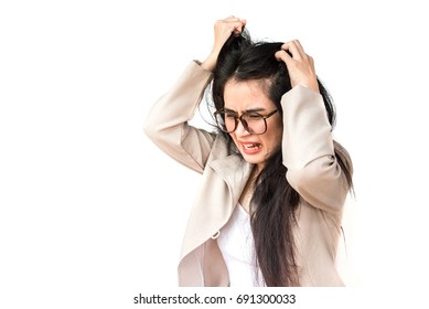 Mad business woman screaming. woman stressed is going crazy pulling her hair