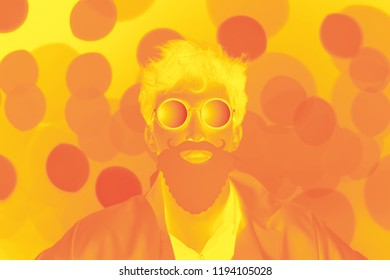 Mad chemist. A man with beard in white coat on orange background with orange and yellow lights. Duo toned