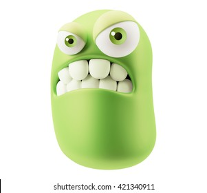 Mad Emoticon Character Face Expression. 3d Rendering.