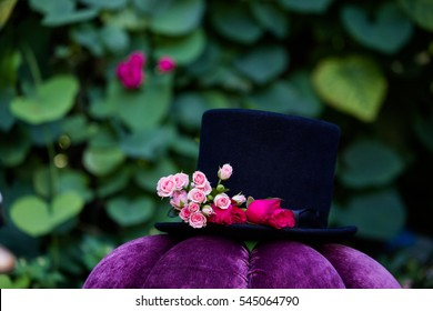 Mad Hatter hat decorated with flowers