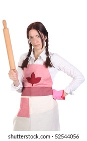 mad housewife with a rolling pin on white background