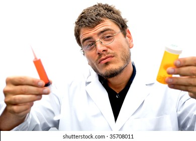 A mad scientist with a crazy look on his face