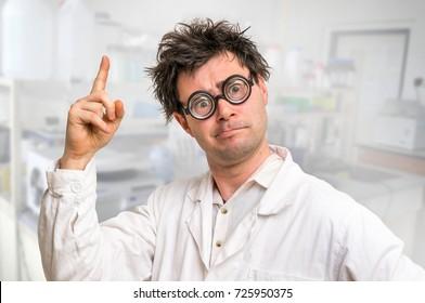 Mad scientist got the great idea in his laboratory