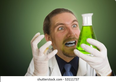 Mad Scientist pouring chemicals in a laboratory