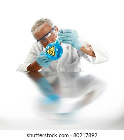 "a Mad Scientist releases dreaded Carbon Dioxide aka ""CO2"" into the air in an effort cause ""Global Warming""  isolated on white with room for your text. ."