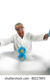 """a Mad Scientist releases dreaded Carbon Dioxide aka """"CO2"""" into the air in an effort cause """"Global Warming""""  isolated on white with room for your text. ."""