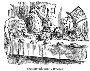 "Mad Tea Party. Engraving by John Tenniel (United Kingdom, 1872). Illustration from book """"Alice's Adventures in Wonderland"", publisher ""Nauka"" Moscow, USSR, 1979"