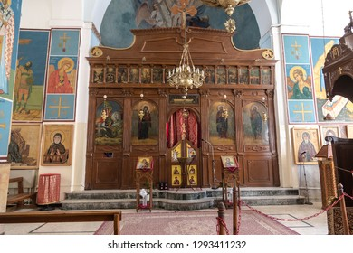 MADABA, JORDAN - NOVEMBER 05, 2016: The interior of the Greek Orthodox Church of St. George. Madaba, Jordan