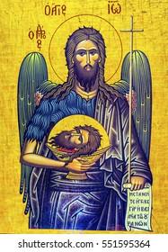 MADABA, JORDAN - NOVEMBER 25, 2016 Christ Angel John the Baptist Head Golden Icon Saint George's Greek Orthodox Church Madaba Jordan. Church was created in late 1800s and houses many famous mosaics