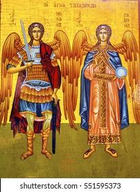 MADABA, JORDAN - NOVEMBER 25, 2016 Saint Michael Angels Golden Icon Saint George's Greek Orthodox Church Madaba Jordan.  Church was created in the late 1800s and houses many famous mosaics