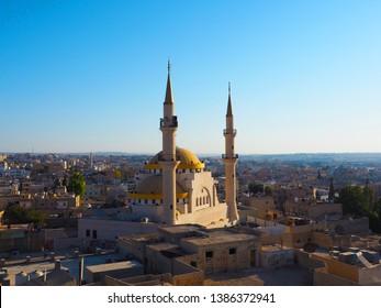 Madaba,Jordan-September 21,2018 : Top view of Madaba with King Hussain Mosque