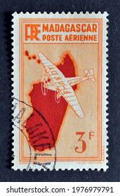Madagascar - circa 1935 : Cancelled postage stamp printed by Madagascar, that shows Airplane over Madagascar, circa 1935.