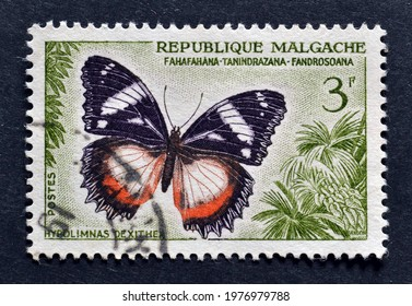 Madagascar - circa 1960 : Cancelled postage stamp printed by Madagascar, that shows Madagascar Diadem (Hypolimnas dexithea) butterfly, circa 1960.