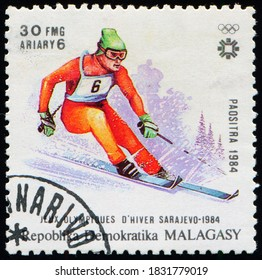 MADAGASCAR - CIRCA 1984: stamp printed by Madagascar (Malagasy), shows Downhill skiing athlete, Winter Olympics in Sarajevo, circa 1984
