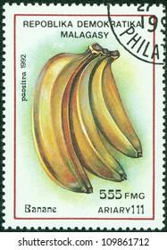 MADAGASCAR - CIRCA 1992: Postage stamps printed in Madagascar, is shown banana, circa 1992