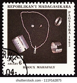 "MADAGASCAR - CIRCA 1994: A stamp printed in Madagascar from the ""Handicraft"" issue shows Silver jewellery, Mahafaly, circa 1994."