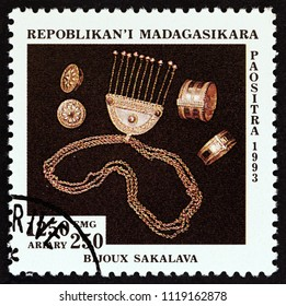 "MADAGASCAR - CIRCA 1994: A stamp printed in Madagascar from the ""Handicraft"" issue shows Silver jewellery, Sakalava, circa 1994."