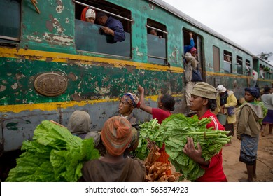 Madagascar, September 15, 2016: sales at the train station from Fianarantsoa to Manakara, when villages alongside the tracks sell their products to travelers