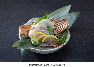 Madai sashimi or red snapper fish Japanese food cuisine isolated