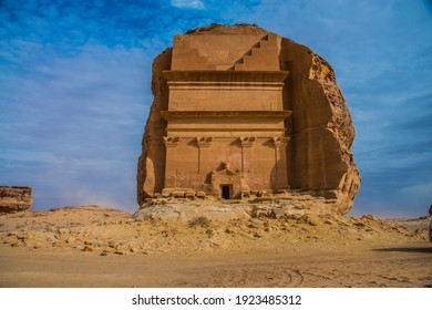 """Mada'in Saleh also called """"Al-Hijr"""" or """"Hegra"""", is an archaeological site located in the Sector of Al-`Ula within Al Madinah Region, the Hejaz, Saudi Arabia."""