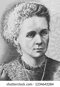 Madam Marie Curie on Poland 20 Zlotych banknote. Famous scientist and inventor in chemistry and physics. Black and white