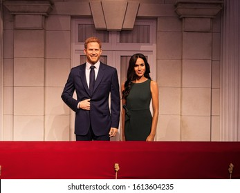Madame Tussauds wax museum separates Prince Harry and Meghan Markle's waxworks from Royal Family set. Photo taken on12-Jan-2020 London, England, UK