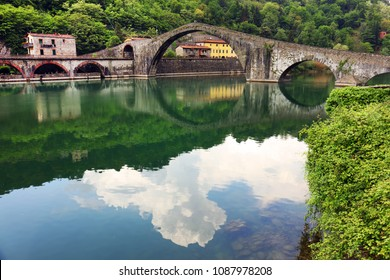 Maddalena Bridge in Bagni di Lucca, Tuscany, Italy, also known as the Devil's Bridge