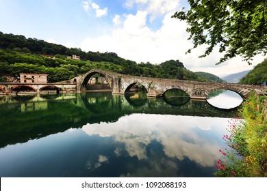 Maddalena Bridge in Bagni di Lucca, Tuscany, Italy, also known as the Devil's Bridge