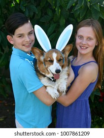 Maddy and Nathan holding Tulip with her big bunny ears of blue which happen to match Nathan's polo.  All three with smiles.