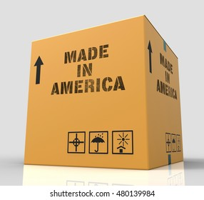 Made In America Box Means The States Production 3d Rendering