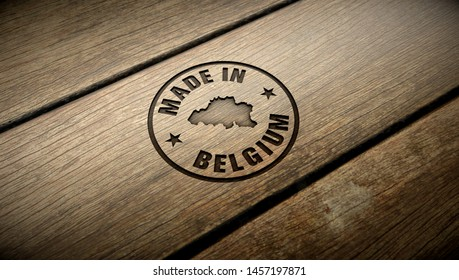 Made in Belgium wood engraving. Embossed stamp.