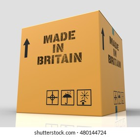 Made In Britain Product Box Represents UK Production 3d Rendering