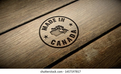 Made in Canada wood engraving. Embossed stamp.