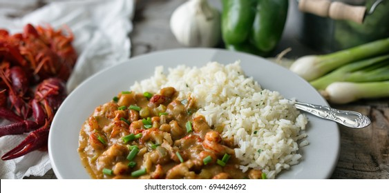 Étouffée made from crawfish served with rice.