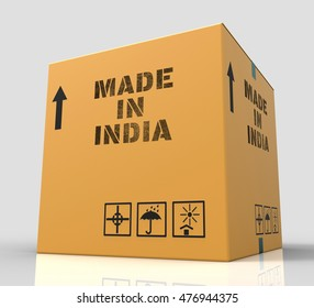 Made In India Indicating Asia Import 3d Rendering