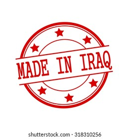 Made in Iraq  red stamp text on red circle on a white background and star
