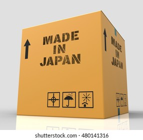 Made In Japan Box Indicates Japanese Import Trade 3d Rendering