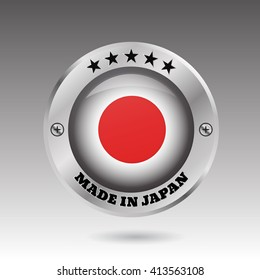 Made in Japan silver badge button flag symbol  illustration