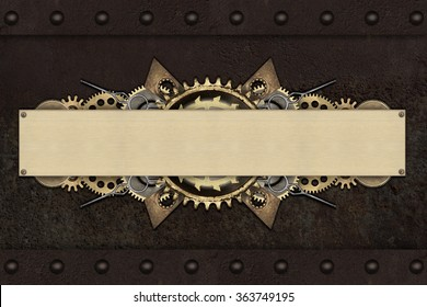 Made of metal frame and clockwork details. Mechanical steampunk collage