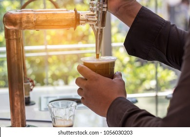 Made nitro cold brew coffee in the cafe