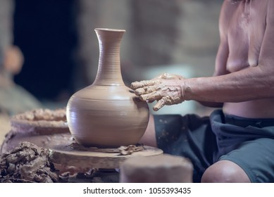 Made of pottery clay, earthenware clays handicrafts, close up.