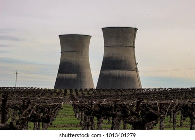Made a quick road trip to Rancho Seco nuclear generating station. Very eerie and creepy going through the silent empty park.  The stacks were enormous and loomed over the wine grapevines