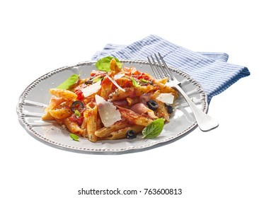 Made from Re-Plated Waste food – Fresh pasta with tomato sauce, olives, smoked ham and basil leaves on restaurant plating, isolated, angled view