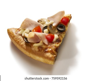 Made from Re-Plated Waste food – Pizza slice with mushrooms, tomatoes, olives, ham and cheese on white background, isolated
