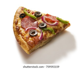 Made from Re-Plated Waste food – Pizza slice with pepperoni, peppers, olives, onions and cheese on white background, isolated