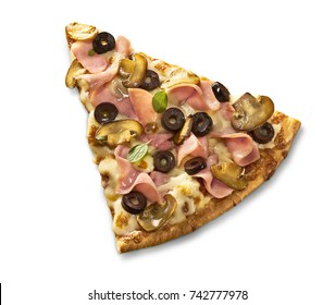 Made from Re-Plated Waste Fresh pizza slice with mushrooms, olives, meat, cheese, isolated, top view, white background