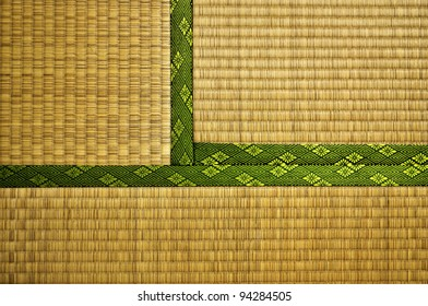Made from rice straw, Tatami Mats are the typical floor covering for traditional Japanese houses and temples. This image shows three adjacent Mats.