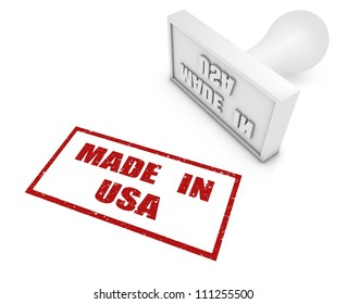 MADE IN rubber stamp. Part of a rubber stamp series.