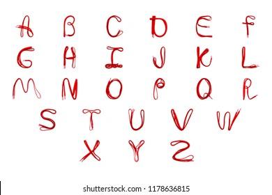 Made from shoelaces alphabet isolated on white background