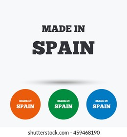 Made in Spain icon. Export production symbol. Product created sign. Round circle buttons with icon.